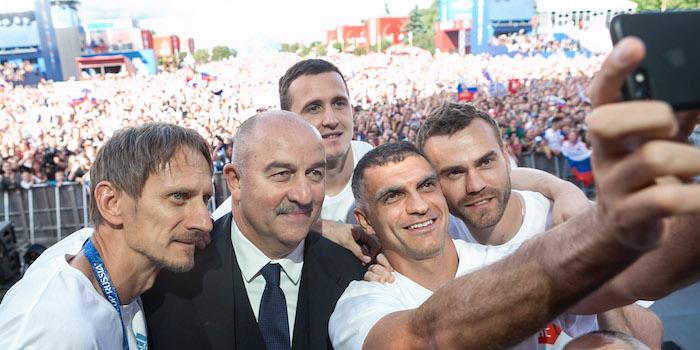 Russische Mannschaft auf dem Fan Fest